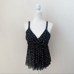 Express Black & White Floral Babydoll Tank Top